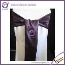 k4096 banquet wholesale fancy shiny satin purple chair sash