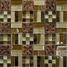 Resin & glass & stone flower pattern vintage mosaic tile