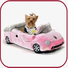 pink car shape soft dog bed pet bed PGHW-1175