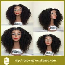 "Human Hair Wig Malaysian Virgin Human Hair Kinky Curly Glueless Front Lace Wig With Baby Hair Fashion Black Women 18"" #1b"