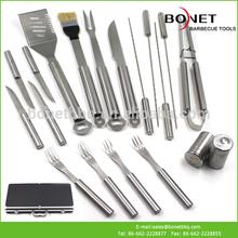 QAS0050 19Pcs Stainless Steel BBQ Set With Aluminum Case BBQ utensil