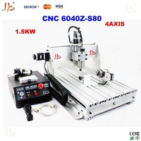 Free shipping 1.5 KW 4 Axis 6040Z-S80 3d cnc router upgrade from CNC 6040