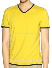 2015 new 100%cotton V neck t shirt for men/seamless blank t shirts/mens plus size t shirt
