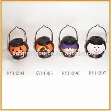 lantern shape ceramic halloween pumpkin with tealight holder decoration