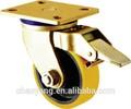 2015 buena calidad caliente de ventas de color amarillo de la pu ruedas con freno de china proveedor 6 pulgadas
