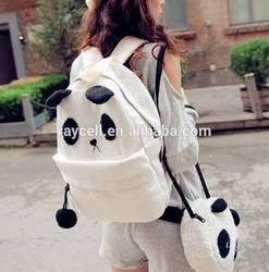 Fashion unique panda lash canvas backpack two pieces shoulder bag for young lady