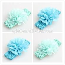 Chiffon Flower Headwear Headband Elastic Baby Crochet Headbands Toddler Baby Headbands For Baby Girls