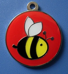 Red color Round Bee logo Pet ID Name Tag Dogs