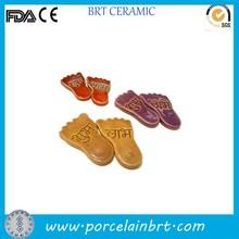 "New unique design ""flat foot"" shape colorful ceramic Fridge Magnet"