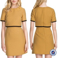 New Designs Wholesale Elegant Shortsleeve Pencil Mini Dress Ladies Office Wear