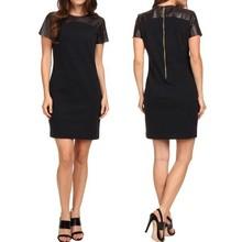 wholesale faux leather panels short sleeves alibaba express women's clothing