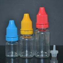 Factory price 2015 new products 10ml bottle pet for eliquids for eliquidsfor eliquids with long thin tip and childproof cap