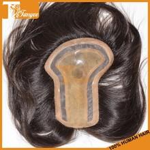 Grade 6A Cap Size 13.5*17.5cm Middle Part Peruvian Straight Hair Toupee Men Human Hair Wig