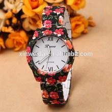 2015 reloj de la flor ginebra women wristband alloy stamping geneva flower watch