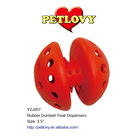 """PROMOTIONAL 3.5"""" RUBBER DUMBELL TREAT DISPENSERS RUBBER TOY DOG TOY"""