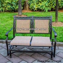 cast aluminum garden rocking loveseat glider bench with sling fabric special use for patio/villas