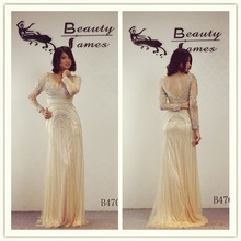 2015 champagne color long sleeves net fabric beaded pattern grace evening dresses & wedding dresses