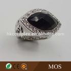 2015 top selling Brillant cut Big black onyx stone ring with Rhodium plated