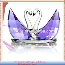 Clear Crystal Swan Figurine,purple Crystal Swan For Wedding Favors