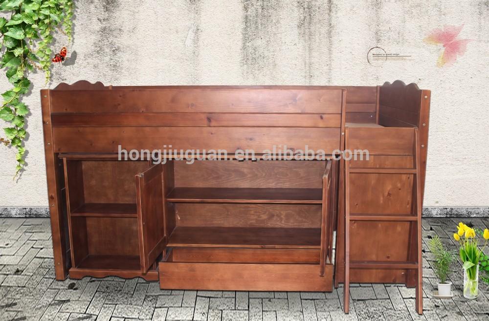 Antieke houten bed half hoogslaper houten half lang bed met kast kinderen cabine bed bedden - Houten bed ...