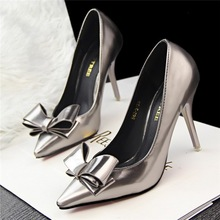 HFR-S151202 New arrival hot sale fashion bowknot shining women dress shoes