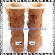 100% Sheepksin 2015 nova moda inverno mulheres botas de neve impermeável