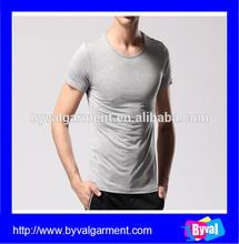 Wholesale high quality fashion grey slim fit organic blank men's t shirt men short sleeve t shirt