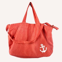 Anchor printing red color reusable jute bag shopping