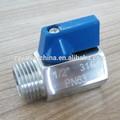 Açoinoxidável mini válvula de esfera, reduzir bore, m/linha f, polido