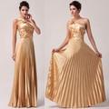 สง่างามหนึ่งไหล่ผ้าซาตินสีทองkarinใบผ้าไหมไทยชุดเย็นcl6033