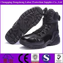 Low Price Black Split Leather Combat Boots