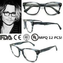 Johnny Depp retro roud acetate eyeglass frame 2015 fashion star eyewear men