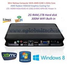 Stock Cheap Home Computer with AMD E240 Core USB2.0 HD Port VGA HD6310 Graphics 2G RAM 1TB Harddisk WIFI LAN