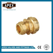 APEX 15mm*22mm Hexagon Head Brass Compression Fittings Reducing Straight Coupler