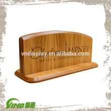 Hotel Restaurant Table Engraved Wood Menu Holder