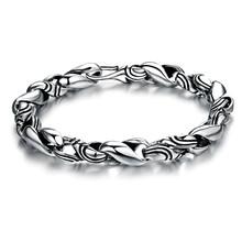 2015 latest old look 925 sterling silver mens antique silver bracelet