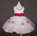 de alta calidad sin mangas hermoso cuello de flores de cumpleaños para niños vestido de flores vestido de las niñas para el más nuevo 2015 parrty niñas vestido