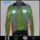 fluorescent green LED reflective plain varsity jacket