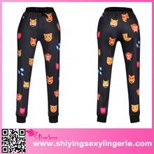 2015 Animal chiffon Emoji Print Fashion White yoga pants online clothing store
