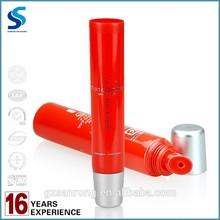 popular lip repair gloss tube packaging, red tube, transparent cap, hot-stamping & screen printing surface handling