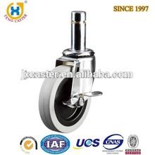 100mm Medium Duty Industrial Caster,solid rubber brake wheel