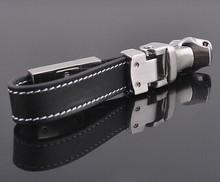 new custom logo leather metal charm key chain