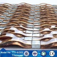 8mm arch gold goldline art wall crystal glass mosaic company