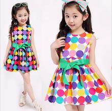 2015 New European high quality child dress princess sleeveless Polka Dot girls Dress kid clothes