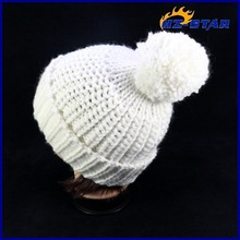 HZM-13302009 long beanie fashion mini top custom design your own pompom white funny winter pompom womens knitted winter hats