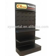 Customized Logo Pegboard Hanging Metal Shelf Rack Floor Display Stand