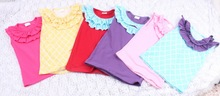 2015Hot Sale Baby Girls Solid Cotton Petti Top Ruffle Bib Vest Tank Top For Baby Clothes Cute Kids T shirts Child Clothing