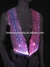 Stage costume Glowing fiber optical fabric sleeveless fur waistcoat 2015