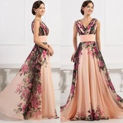 Grace Karin 2015 Elegant Sleeveless Deep V-Neck Flower Pattern Chiffon Evening Dresses Long CL7502