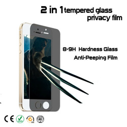 High quality tempered glass curved edge 2.5D privacy screen protector for iphone5/6